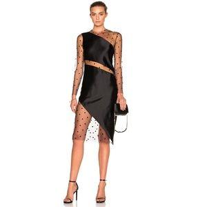 Michelle Mason  Women's Black Mesh Slant Dress New